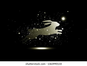 Golden stars glowing, rabbit fantasy miracle, sparkle, animals guardian luxury, Christmas abstract background seasonal holiday vector illustration