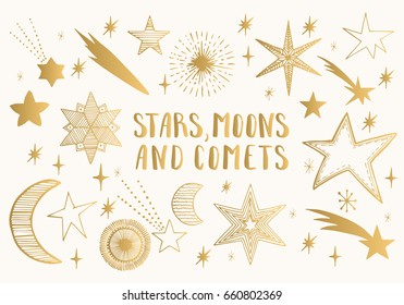 Golden stars, moons, comets. Hand drawn vector.