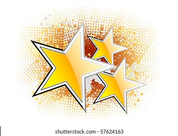 Golden stars on the abstract background