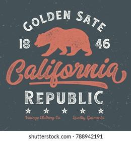 Golden State California Republic - Tee Design For Print