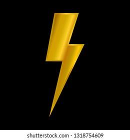 golden storm. golden lightning logo/icon isolated on black background