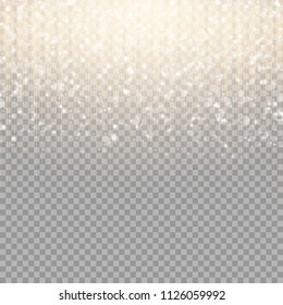 Golden stripes on a transparent background with bright sparkles for the New Year's design of congratulations