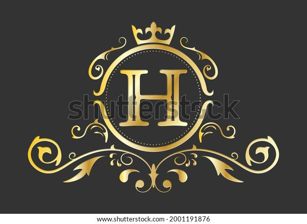 Golden stylized letter H of the Latin alphabet. Monogram template with ornament and crown for design of ials, business cards, logos, emblems and heraldry. Vector illustration