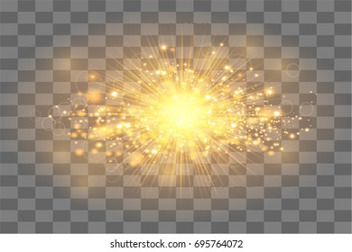 Golden sun ray with  sparkles or  gold  particle  glitter light. Merry Christmas festive background.defocused circle particle bokeh. Abstract gold background.Vector Illustration