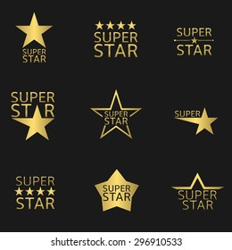 Golden super star logo icon set. Vector illustration