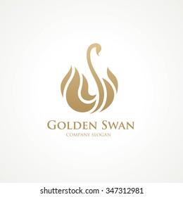Golden Swan Luxury Logo Template