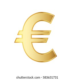 Golden symbol of the euro currency. Vector illustration. Golden euro symbol isolated on white background.