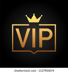 Golden symbol of exclusivity, the label VIP with glitter. Very important person - VIP icon on dark background Sign of exclusivity with bright, Golden glow. Vector stock illustration.