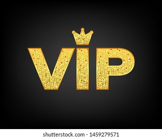 Golden symbol of exclusivity, the label VIP with glitter. Very important person - VIP icon.