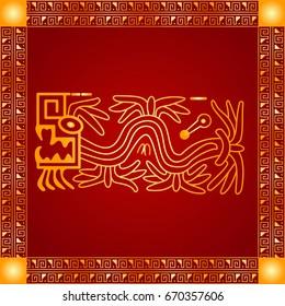 Golden symbolic vector ornaments of American native Indians, Aztec and Maya