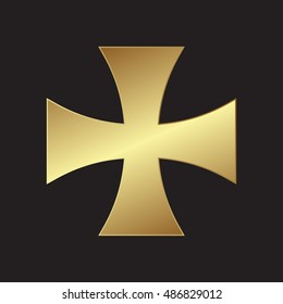 golden templars cross isolated on black background
