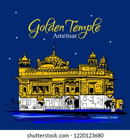 Golden temple Amritsar Punjab. Vector illustration. happy guru purab