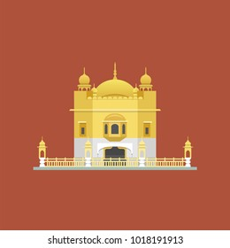 Golden Temple (Harmandir Sahib) in Amritsar, Punjab, India. Vector illustration