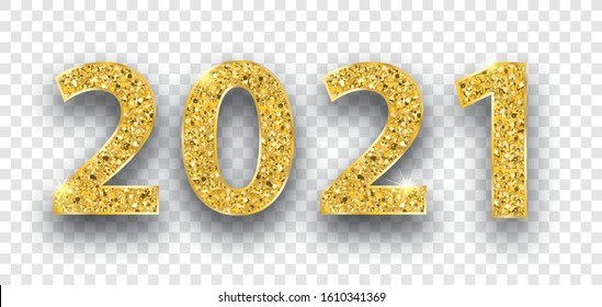 Golden text 2021 on the checked background.  Eps 10 vector file.
