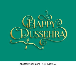 Golden text calligraphic inscription Happy Dussehra festival Indian with bow and arrow with a shadow on a blue green background. Vector illustration