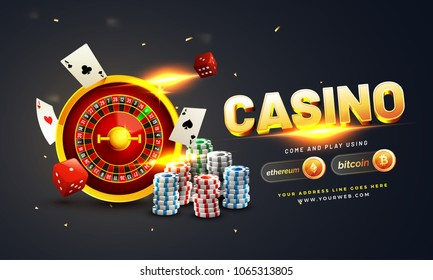Golden text Casino with 3D chip, coins, ace cards, and roulette on sparkling grey background. Flyer, poster or banner design with Cryptocurrencies accepted.
