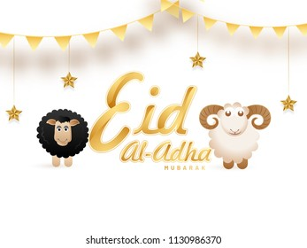 Golden text Eid-Al-Adha, Islamic festival of sacrifice concept with happy sheeps, hanging stars on white background.