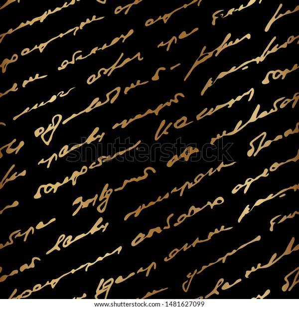 Golden Text Indistinct Written Handwriting Romantic Stock ...