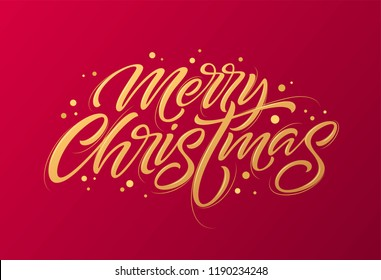 Golden text on dark red background. Merry Christmas lettering for invitation and greeting card, prints and posters. Hand drawn inscription, calligraphic design. Vector illustration EPS10