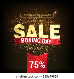 Golden text on glowing background. Boxing Day Sale lettering for invitation and greeting card, prints and posters. Hand drawn inscription, calligraphic design. Vector illustration