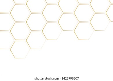 Golden texture geometric pattern.Abstract paper Hexagon white background  pattern with copy space. Premium Vector
