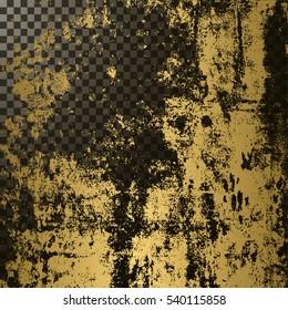 Golden texture on transparent background, vector