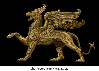 Golden textured embroidery griffin textile patch design. Fashion decoration ornament fabric print. Gold on black background legendary mythic heraldic character lion eagle vector illustration
