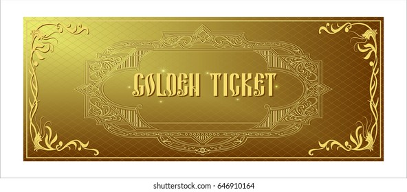 golden ticket gloss, golden, gift, prize, shine, card for discount, admission patterns, ornament,