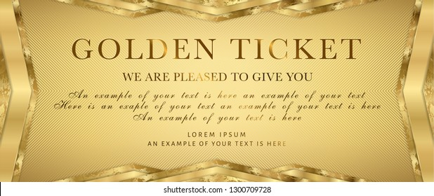 Golden ticket. Gold background for reward card design. Useful for Coupon, any festival, party, cinema, event or entertainment show