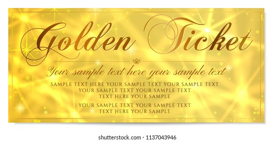 Golden ticket, Gold ticket (tear-off) vector template design with star golden background. Useful for Coupon, any festival, party, cinema, event, entertainment show, concert