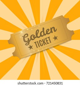 Golden ticket. Shiny Golden ticket on a background of rays of light. Vector illustration