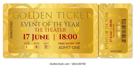 Golden ticket template, Concert ticket (tear-off ticket mockup) on gold background with curve patter. Useful for any festival, party, cinema, event, entertainment show