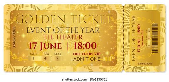 Golden Ticket Template Concert Ticket Tearoff Stock Vector ...