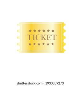 Golden ticket, vector image of ticket