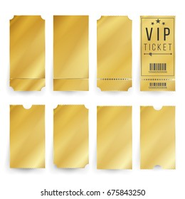 Golden Ticket Vip Template Vector. Empty Gold Movie, Theater Tickets And Admit Coupons Blank. Isolated Illustration.