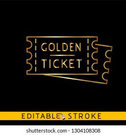 Golden tickets. Gold icon on black background. Easy changing vector with editable strokes.