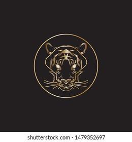 Golden tiger head. Illustration of a tiger face for print design. Big cat, animal vector.