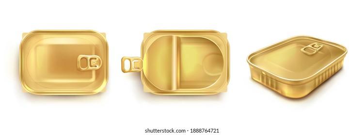 정딘을 위한 골든 틴 캔은 상단과 원근감 있는 전망에서 볼 수 있다. 물고기와 참치를 위한 사각형 금속 컨테이너의 벡터 현실적인 모형. 흰색 배경에 격리된 개방형 및 닫힌 뚜껑이 있는 빈 보존 상자