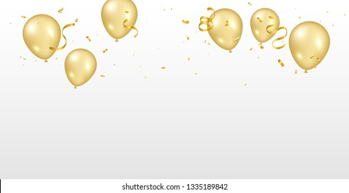 Golden Tiny Confetti And balloon With Streamer Ribbon Falling On White Background. Vector