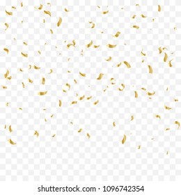 Golden Tiny Confetti Falling On Transparent Background. Vector