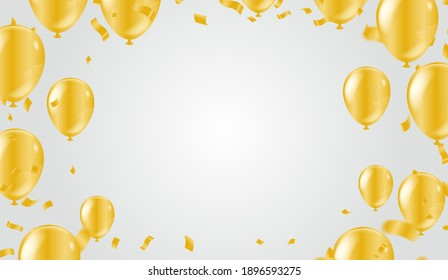 Golden Tiny Confetti and gold balloons confetti party background, concept design. Celebration Vector illustration