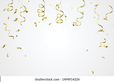 Golden Tiny Confetti And Streamer Ribbon Falling On White Background. Vector