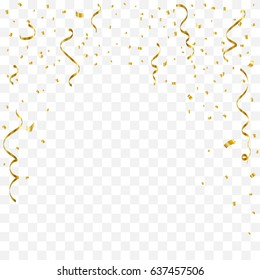 Golden Tiny Confetti And Streamer Ribbon Falling On Transparent Background. Vector
