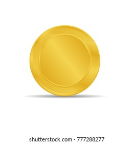 Golden token placed on white background. gold coin icon