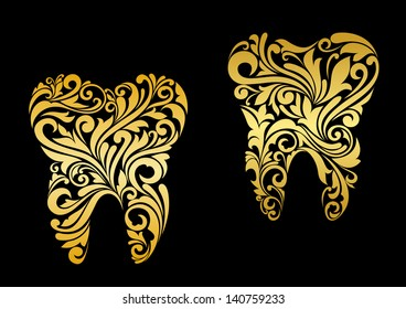 Golden tooth in floral style for dentistry design. Jpeg (bitmap) version also available in gallery