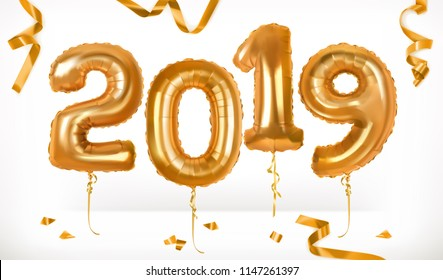 Golden toy balloons. Happy New Year 2019. 3d vector icon
