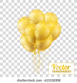 Golden and transparent balloons on the checked background. Eps 10 vector file.