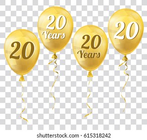 Golden transparent balloons with text 20 Years. Eps 10 vector file.