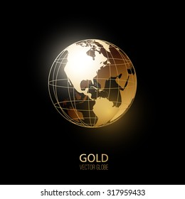 Golden transparent globe isolated on black background. Vector icon