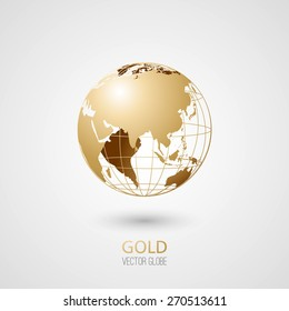 Golden transparent globe isolated in white background. Vector icon